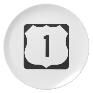 US Route 1 Sign Dinner Plates