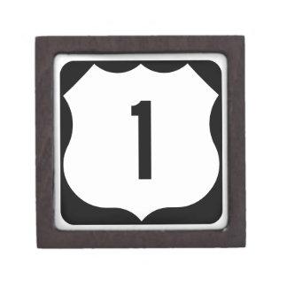 US Route 1 Sign Premium Trinket Box