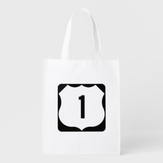 US Route 1 Sign Reusable Grocery Bags