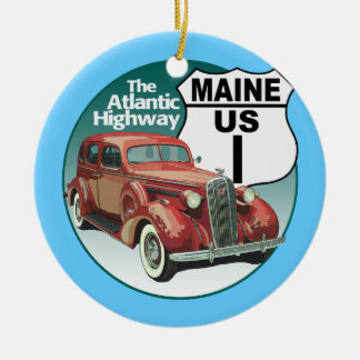 US Route 1 - The Atlantic Highway Double-Sided Ceramic Round Christmas Ornament