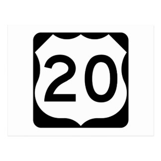 US Route 20 Sign Postcard