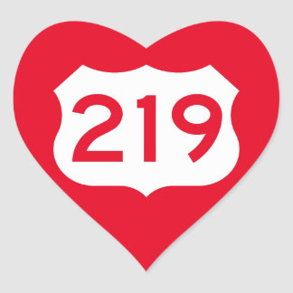 US Route 219 Sign Heart Sticker