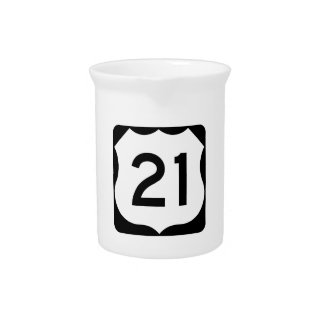US Route 21 Sign Beverage Pitchers