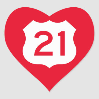 US Route 21 Sign Heart Sticker