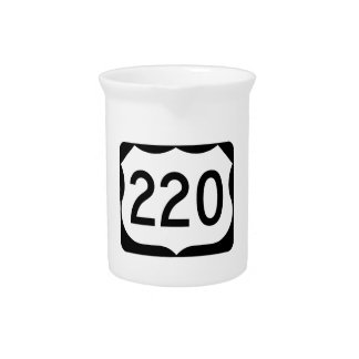 US Route 220 Sign Beverage Pitchers