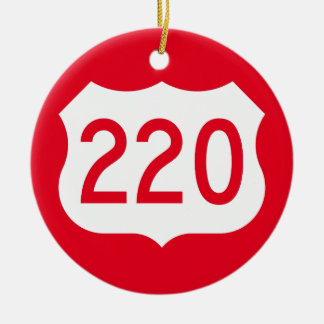 US Route 220 Sign Double-Sided Ceramic Round Christmas Ornament
