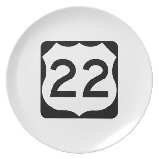 US Route 22 Sign Melamine Plate