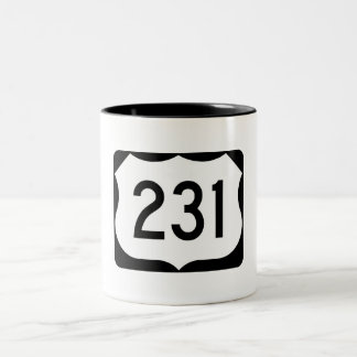 US Route 231 Sign Two-Tone Coffee Mug