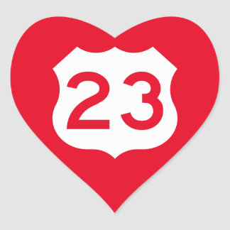 US Route 23 Sign Heart Sticker