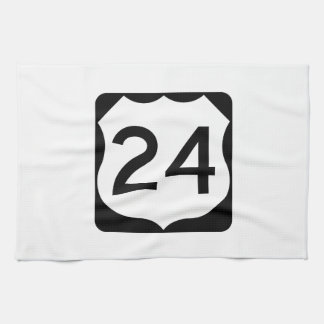 US Route 24 Sign Kitchen Towels