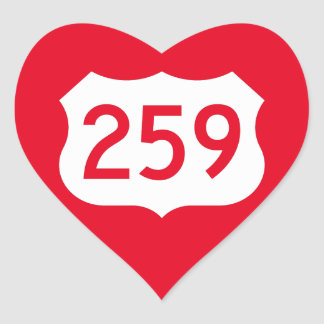 US Route 259 Sign Heart Sticker
