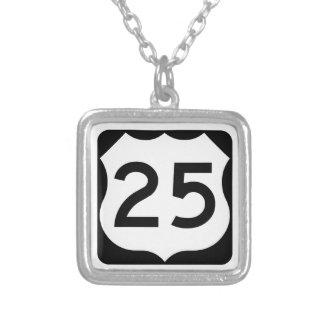 US Route 25 Sign Square Pendant Necklace