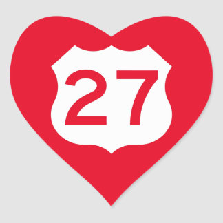 US Route 27 Sign Heart Sticker