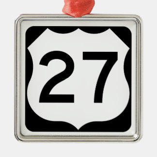 US Route 27 Sign Square Metal Christmas Ornament