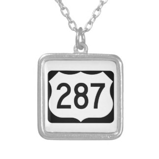 US Route 287 Sign Square Pendant Necklace