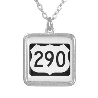 US Route 290 Sign Square Pendant Necklace