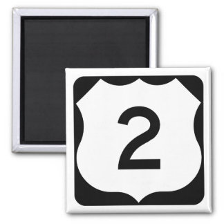 US Route 2 Sign 2 Inch Square Magnet