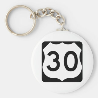 US Route 30 Sign Basic Round Button Keychain
