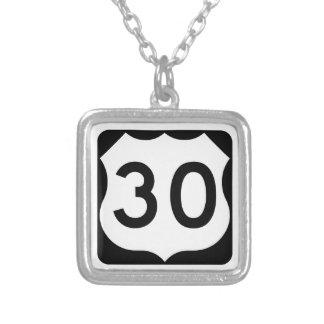 US Route 30 Sign Square Pendant Necklace