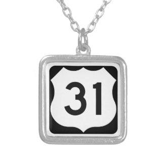 US Route 31 Sign Square Pendant Necklace