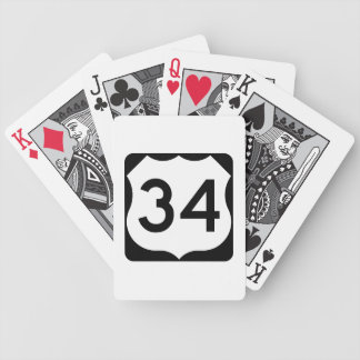 US Route 34 Sign Bicycle Playing Cards