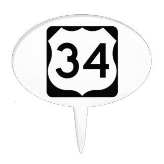 US Route 34 Sign Cake Topper