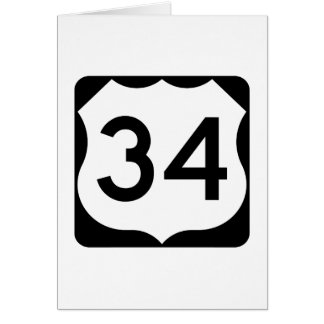 US Route 34 Sign Card