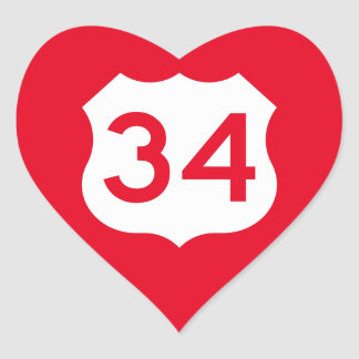 US Route 34 Sign Heart Sticker