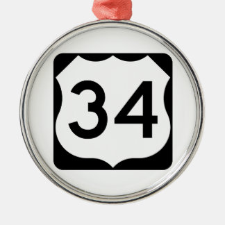 US Route 34 Sign Round Metal Christmas Ornament