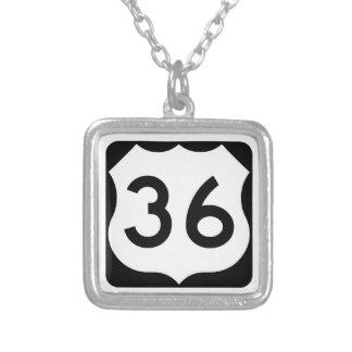 US Route 36 Sign Square Pendant Necklace