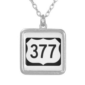 US Route 377 Sign Square Pendant Necklace
