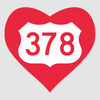 US Route 378 Sign Heart Sticker