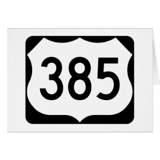 US Route 385 Sign Card