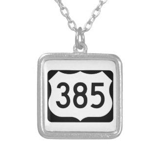 US Route 385 Sign Square Pendant Necklace