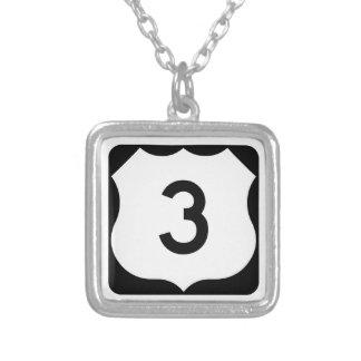 US Route 3 Sign Square Pendant Necklace