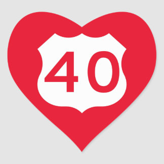 US Route 40 Sign Heart Sticker