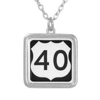 US Route 40 Sign Square Pendant Necklace
