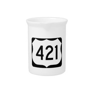 US Route 421 Sign Beverage Pitcher