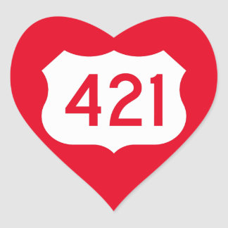 US Route 421 Sign Heart Sticker