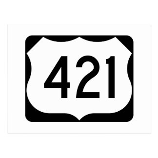 US Route 421 Sign Postcard