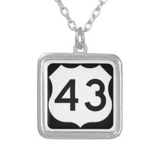 US Route 43 Sign Square Pendant Necklace