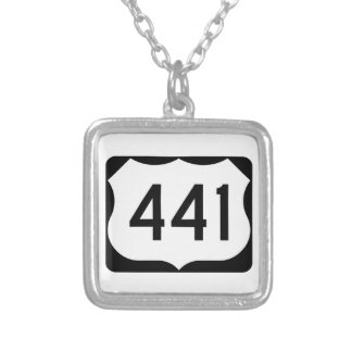 US Route 441 Sign Square Pendant Necklace