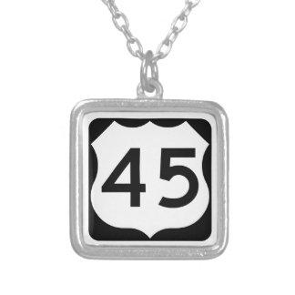 US Route 45 Sign Square Pendant Necklace