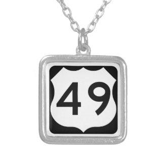 US Route 49 Sign Square Pendant Necklace