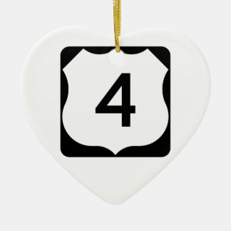 US Route 4 Sign Double-Sided Heart Ceramic Christmas Ornament