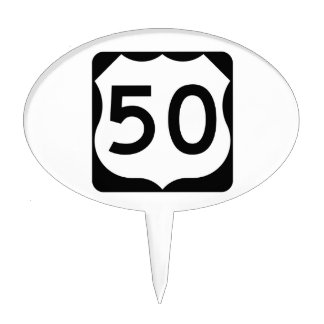US Route 50 Sign Cake Topper