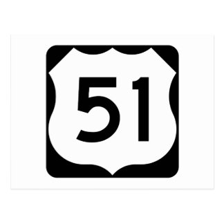 US Route 51 Sign Postcard