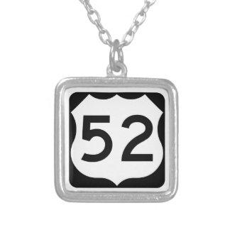 US Route 52 Sign Square Pendant Necklace
