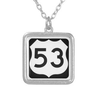 US Route 53 Sign Square Pendant Necklace
