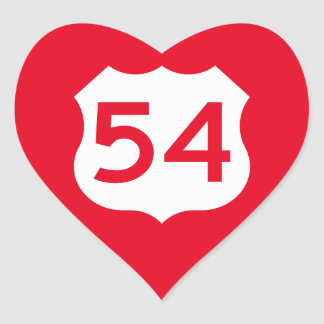 US Route 54 Sign Heart Sticker
